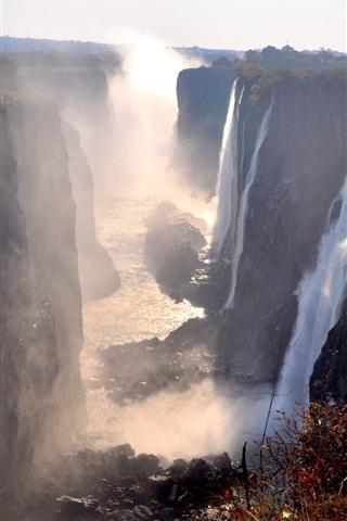 iPhone Wallpaper Victoria Falls, Zambia, great waterfalls, fog, autumn