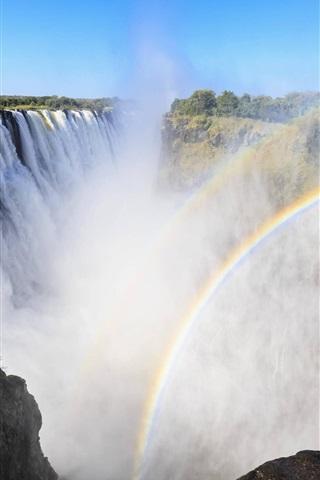 iPhone Wallpaper Victoria Waterfalls, Africa, rainbow, mist