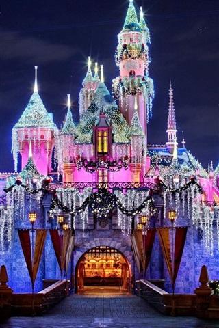 iPhone Wallpaper Wonderful Disneyland, amazing castle, beautiful lights, California, USA