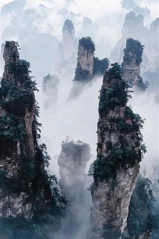 iPhone Wallpaper Zhangjiajie National Forest Park, China, cliffs, mountains, fog