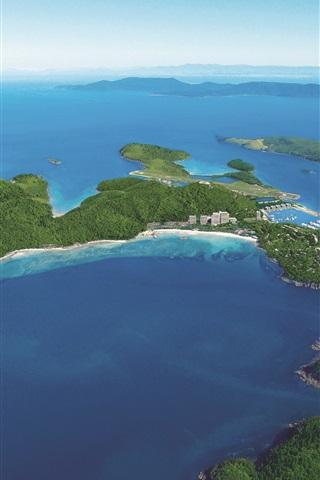 iPhone Wallpaper Aerial to view Hamilton Island, blue sea, Australia