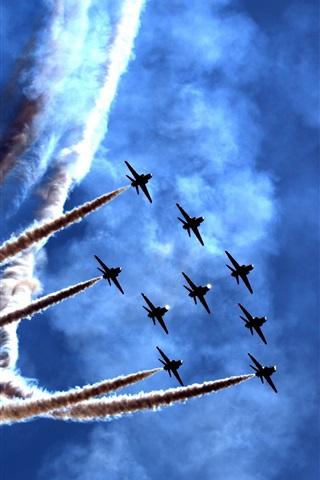 iPhone Wallpaper Air show, festival, planes, smoke, blue sky