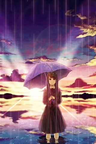 iPhone Wallpaper Anime girl in rain, umbrella, water, clouds, sunset