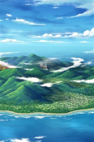 iPhone Wallpaper Art design, sea, island, mountain, clouds