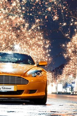 iPhone Wallpaper Aston Martin DB9 orange supercar front view, night, lights