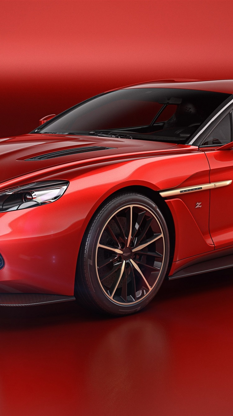 Wallpaper Aston Martin Vanquish Zagato Red Supercar 2016