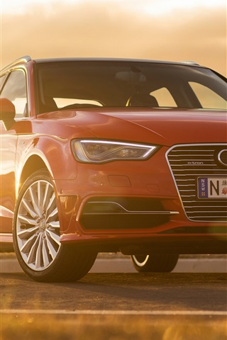 iPhone Wallpaper Audi A3 Sportback e-tron red car front view