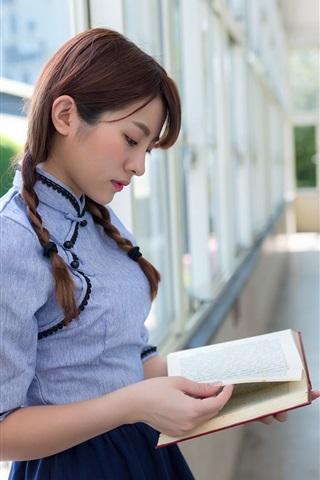 iPhone Wallpaper Beautiful Asian girl reading book, retro style