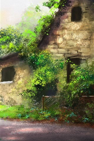 iPhone Wallpaper Beautiful art painting, house, trees, path, green plants