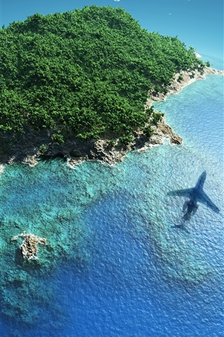 iPhone Wallpaper Beautiful blue earth, islands, reefs, tropical, plane, sky, sea, creative pictures