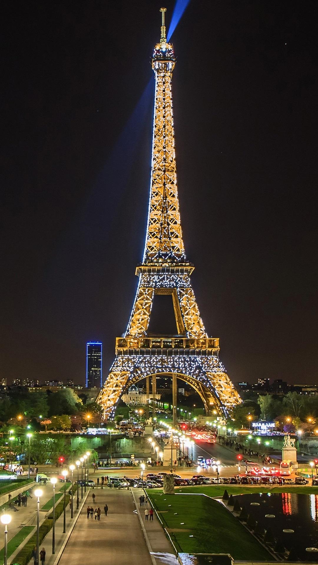 Beautiful Night View Eiffel Tower Spotlight Paris France