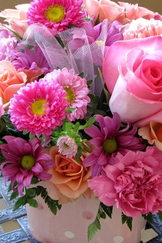 iPhone Wallpaper Bouquet, pink flowers, rose, daisy, peony