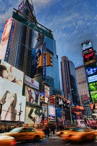 iPhone Обои Шумный город, Нью-Йорк, США, ночь, улицы, небоскребы