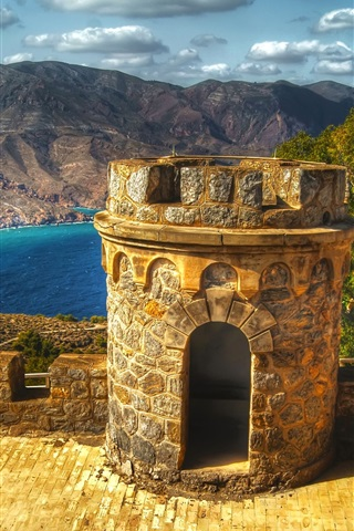 iPhone Wallpaper Cartagena, Spain, castle, fortress, lake, mountains
