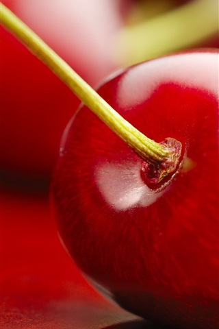 iPhone Wallpaper Cherry macro photography, red, fruits
