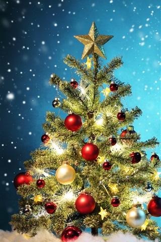 iPhone Wallpaper Christmas tree, colorful balls, snow, winter, beautiful