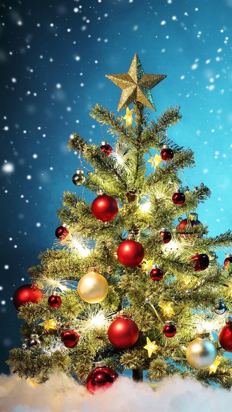クリスマスツリー カラフルなボール 美しい雪 冬 750x1334 Iphone