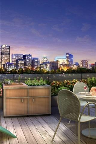 iPhone Wallpaper City night, terrace, lights, dinner, wine, 3D design