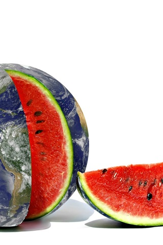 iPhone Wallpaper Creative pictures, Earth, watermelon