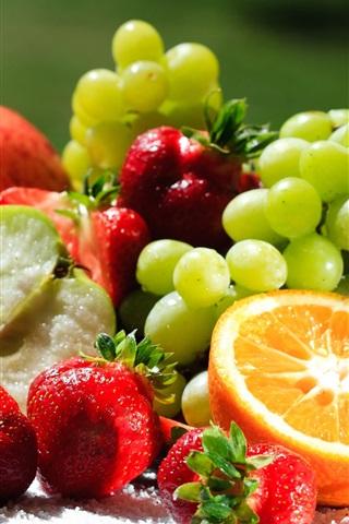 iPhone Wallpaper Delicious fruits, oranges, kiwi, grapes, strawberries