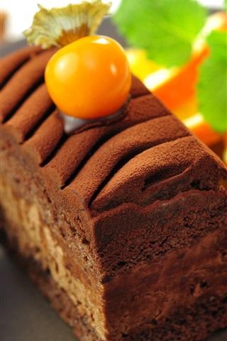 iPhone Wallpaper Dessert food, chocolate cake, orange slice