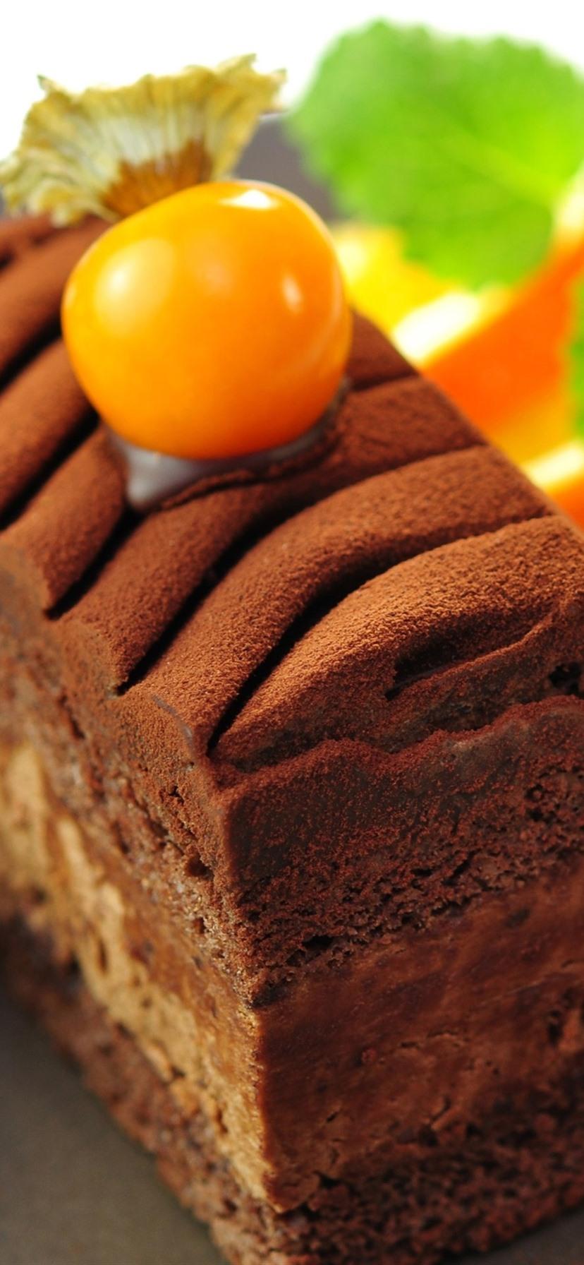 Wallpaper Dessert Food Chocolate Cake Orange Slice