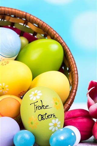 iPhone Wallpaper Easter eggs, tulips, flowers, basket, bokeh