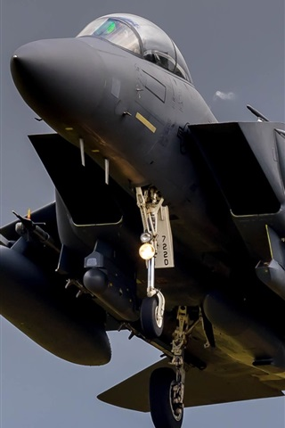 iPhone Wallpaper F-15 fighter in sky