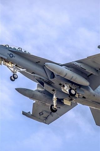 iPhone Wallpaper F-18 Fighter flight in sky