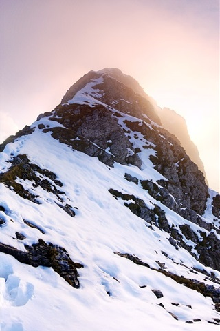 iPhone Wallpaper Falschkogel, Tyrol, Austria, mountains, snow, sun
