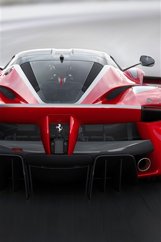 iPhone Wallpaper Ferrari FXX K red supercar back view, speed, road