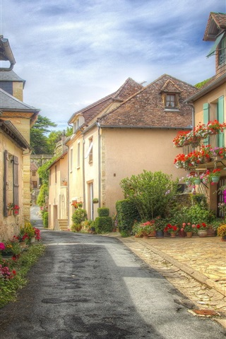 iPhone Wallpaper France, Aquitaine, street, houses, town, flowers