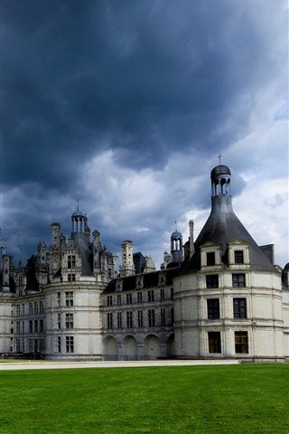 iPhone Wallpaper France, Chateau de Chambord, lightning, clouds, grass, castle