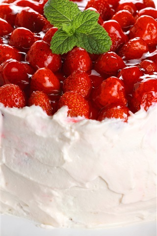 iPhone Wallpaper Fruit cake, cream, strawberries, dessert