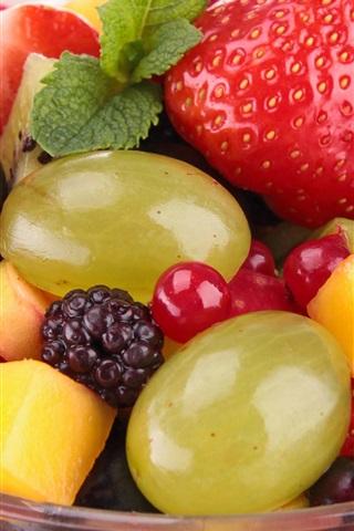iPhone Wallpaper Fruits salad, berries, strawberries, mango, dessert