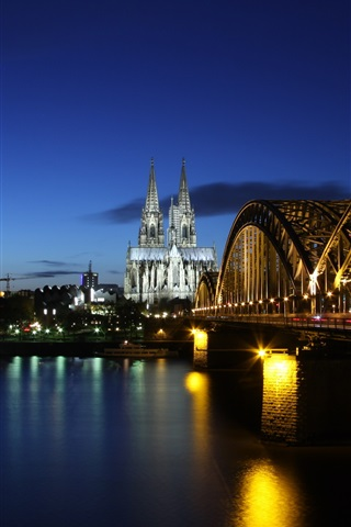 iPhone Wallpaper Germany, Cologne, evening, river Rhine, bridge, lights, buildings