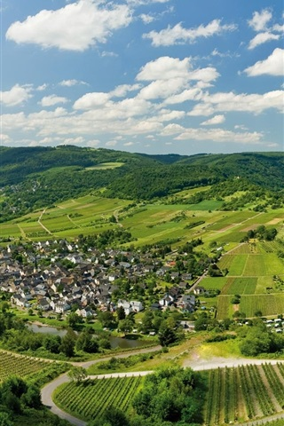 iPhone Wallpaper Germany, Mosel, houses, river, fields, trees, mountains, clouds