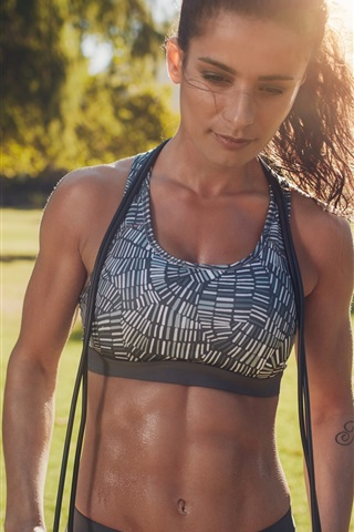 iPhone Wallpaper Girl in summer, workout, fitness, sunshine