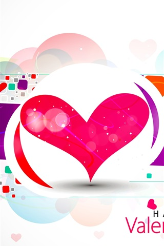 iPhone Wallpaper Happy Valentine's Day, love hearts, vector, abstract