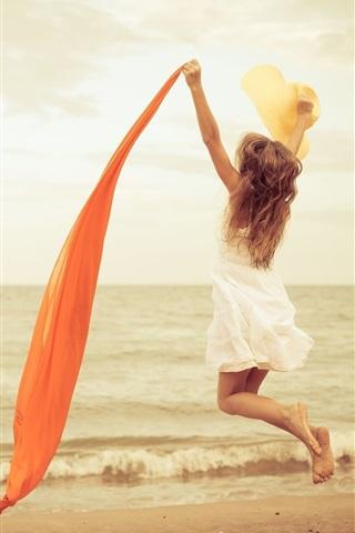 iPhone Wallpaper Happy girl jump, mood, white dress, red ribbon, beach, sea