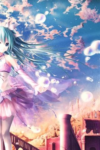 iPhone Wallpaper Hatsune Miku, blue hair anime girl, fantasy world