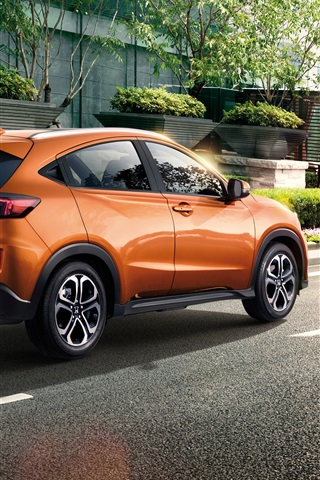 iPhone Wallpaper Honda XR-V orange SUV car at city