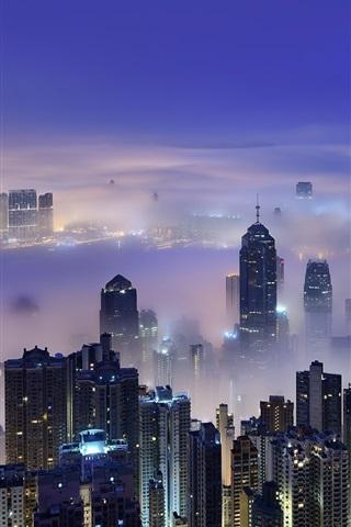 iPhone Wallpaper Hong Kong, Victoria Harbour, morning, dawn, skyscrapers, lights, mist