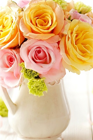 iPhone Wallpaper Household floral, bouquet, pink roses flowers, vase