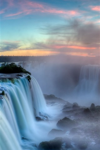 iPhone Wallpaper Iguazu Falls, Argentina-Brazil Border, clouds, sunset, mist