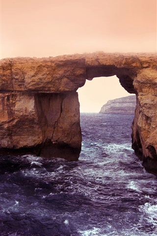 iPhone Wallpaper Island of Gozo, Malta, Azure window, sea, coast