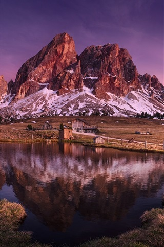 iPhone Wallpaper Italy, Dolomites, mountain, lake, grass, houses
