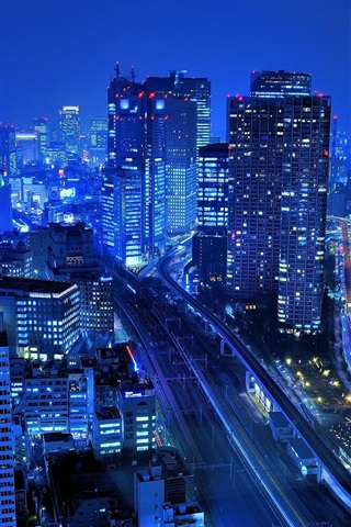 iPhone Wallpaper Japan, city, skyscrapers, buildings, night, lights, blue style