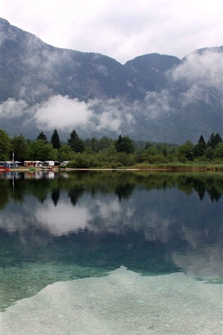 iPhone Wallpaper Lake Bohinj, Slovenia, trees, mountains, clouds
