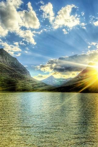 iPhone Wallpaper Lake, mountains, sunshine, clouds, glare